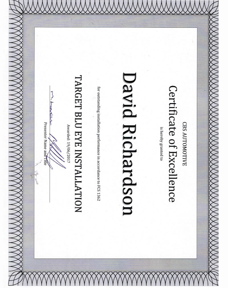 certificate-of-excellence-david-richardson-target-blu-eye-installation