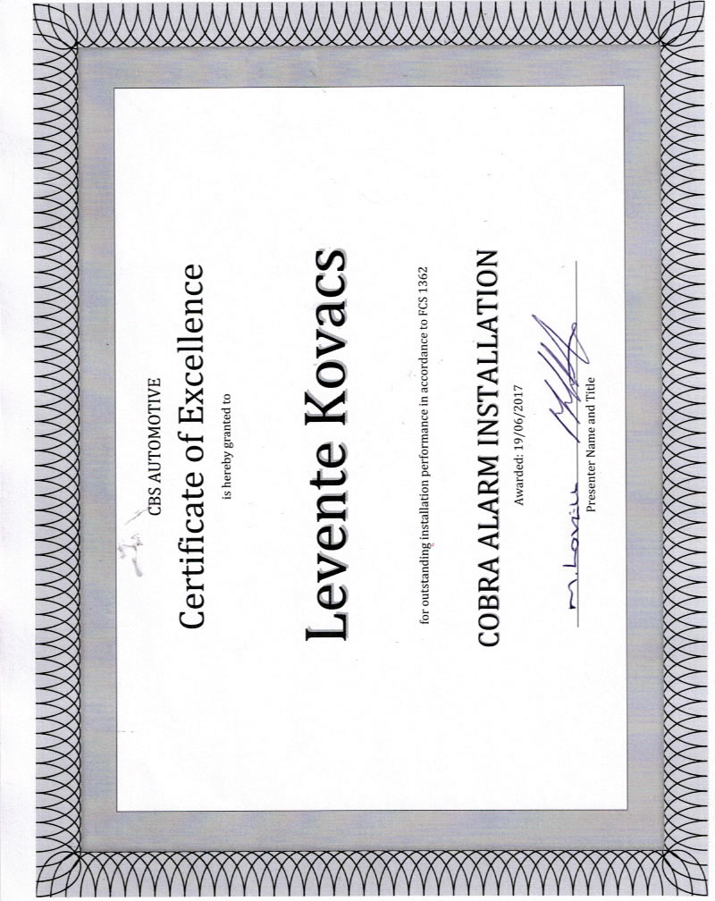 certificate-of-excellence-levente-kovacs-cobra-installation